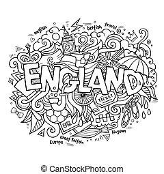 letras, elementos, inglaterra, mano, plano de fondo, doodles