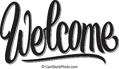 letras, escrito, bienvenida, mano