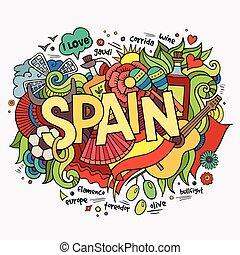 Letras españolas y garabatos elementos de fondo
