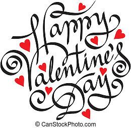 letras, feliz, mano, día, valentine