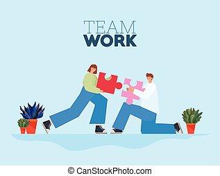 letras, mujer, trabajo equipo, pedazo, rompecabezas, cada, uno, hombre azul, plano de fondo