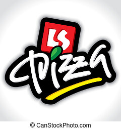 letras, pizza, (vector), mano