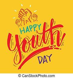 letras, typography., day., mano de la tarjeta, saludo, juventud, feliz
