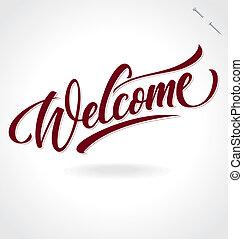 letras, 'welcome', (vector), mano