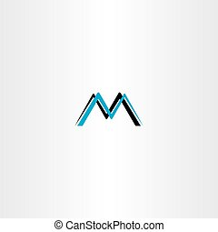 Letter m cyan logo negro icono vector vector