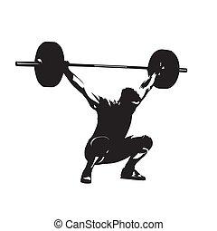 Levantamiento de peso. Levantador de peso con una gran barra, silueta vectorial aislada. Hombre fuerte