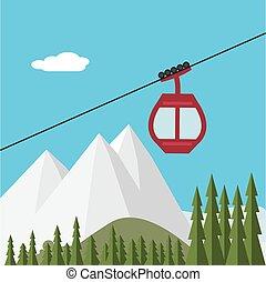 levantamiento, góndola, bosque, montañas, esquí de la nieve