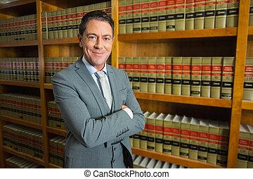 ley, abogado, posición, biblioteca