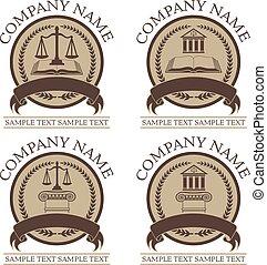 ley, conjunto, abogado, diseño, sello, o