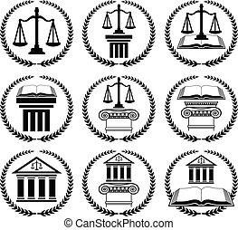 ley, conjunto, abogado, sello, o