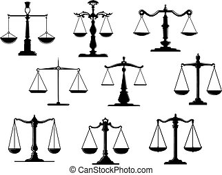 ley, negro, escala, iconos