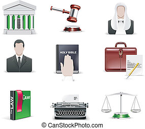 ley, set., icono, orden, vector