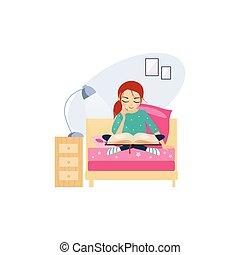 Leyendo. Actividades diarias de las mujeres. Ilustración de vectores