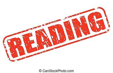 Leyendo el texto de estampado rojo