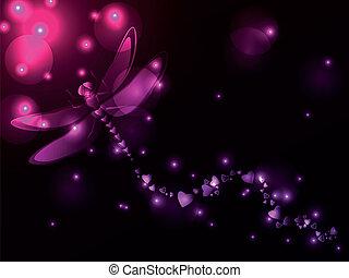 libélula, plasma, corazones