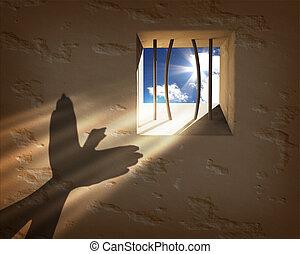 libertad, concept., escapar, prisión