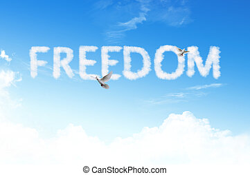 libertad, palabra, nube, cielo