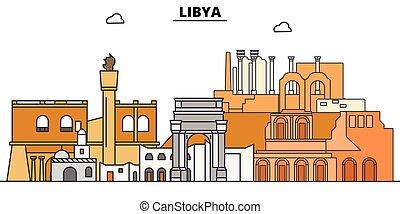Libia plana de viaje. Ilustración de vectores de la ciudad negra de Libia, símbolo, vistas de viaje, puntos de referencia.