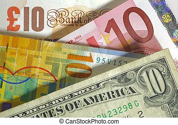 libra, inglaterra, franco, estados unidos de américa, moneda, dólar, euro, europa, suizo