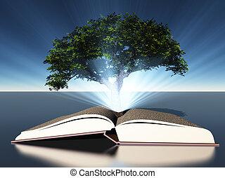 libro abierto, árbol, grows, afuera