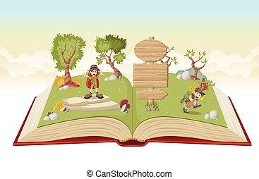 Libro abierto con chicos de dibujos animados en traje de explorador