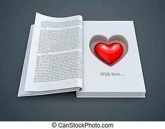Libro abierto con corazón rojo dentro