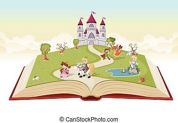 Libro abierto con princesas de dibujos animados y príncipes