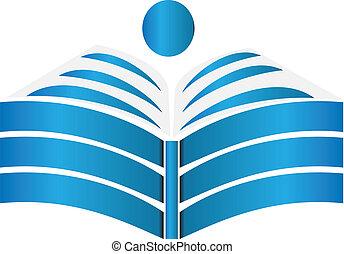 libro abierto, diseño, logotipo