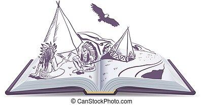 Libro abierto. Los indios se sientan en Wiwam