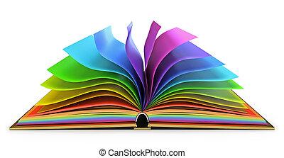 libro, abierto, páginas, colorido
