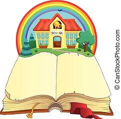 Libro abierto y edificio escolar