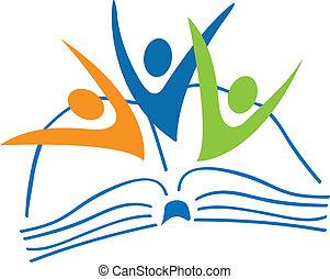 Libro abierto y estudiantes figuran logo