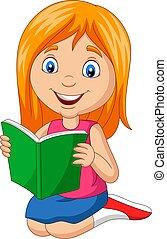 libro, caricatura, poco, lectura, niña
