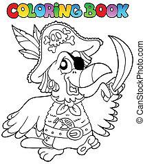 libro colorear, loro, pirata