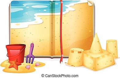 Libro con escena de playa