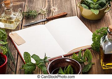 Libro de cocina en blanco