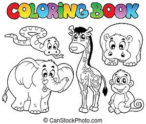 Libro de color con animales africanos