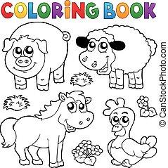 Libro de color con animales de granja
