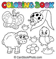 Libro de color con animales de primavera
