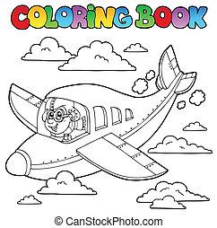 Libro de color con aviador de caricaturas