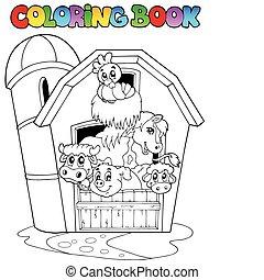Libro de color con establo y animales