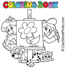 Libro de color con niños y lienzos
