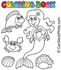 Libro de color con sirena