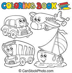 Libro de color con varios vehículos