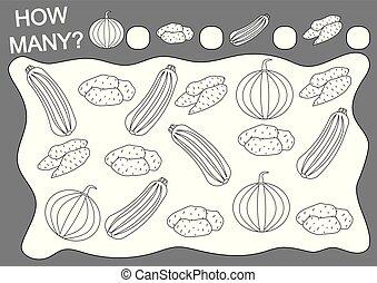 Libro de color y juego de matemáticas cuántos vegetales. Educación. Actividad de lectura. Ilustración de vectores.