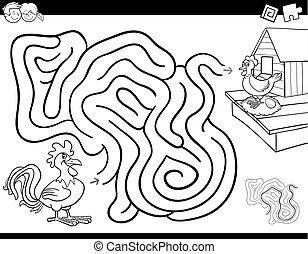 Libro de colorear juegos de laberinto con gallo y gallina