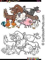 Libro de colores de animales de granja
