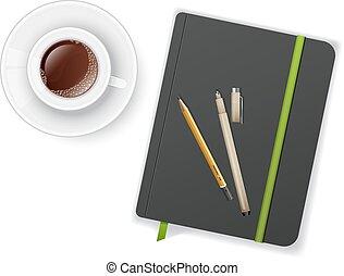 Libro de notas con bolígrafo y taza de café