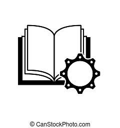 Libro de texto con ícono de engranajes
