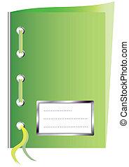 Libro de trabajo de papel verde con espacio para el texto